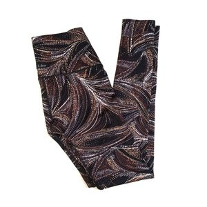 K-DEER Jazz Print Brown High Waist Legging